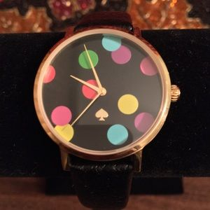 NWOT AUTHENTIC KATE ♠️CONFETTI METRO LEATHER WATCH